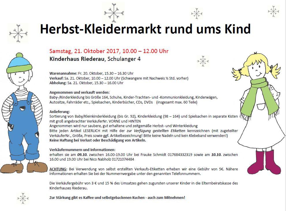 Herbstkleidermarkt Rund ums Kind Kinderhaus Riederau 2017